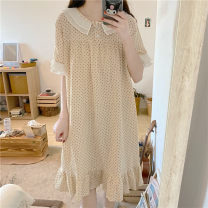 Nightdress Other / other Apricot Average size Sweet Short sleeve pajamas longuette summer Dot youth Crew neck printing Less than 20%
