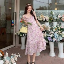 Dress Summer 2021 Purple suspender skirt, blue suspender skirt, yellow cardigan, white cardigan S. M, average size longuette Sweet High waist Decor Socket A-line skirt camisole 18-24 years old Type A printing 30% and below Mori