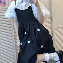 Dress Summer 2021 Shirt, suspender skirt S, M Mid length dress Short sleeve Sweet Socket Big swing puff sleeve 18-24 years old Type A Three dimensional decoration 30% and below solar system