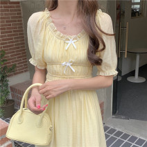 Dress Summer 2021 Taro purple, cream yellow Average size Mid length dress singleton  Short sleeve Sweet Crew neck High waist Solid color Socket A-line skirt Lotus leaf sleeve Others 18-24 years old Type A Bow, fold 30% and below