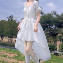 Dress Summer 2021 White, black S, M Middle-skirt singleton  Short sleeve Sweet Crew neck High waist Solid color Socket Irregular skirt puff sleeve Others 18-24 years old Type A Pleats, lace 30% and below solar system