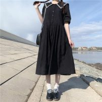 Dress Summer 2021 Black, black premium Average size Mid length dress singleton  Short sleeve Sweet Admiral Loose waist Solid color Socket Big swing other Others 18-24 years old Type A Lace up, button 30% and below solar system