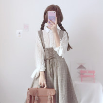 Dress Autumn of 2019 Average size Mid length dress Two piece set three quarter sleeve Sweet Polo collar High waist lattice Big swing bishop sleeve straps 18-24 years old Type A Tie, bow other solar system