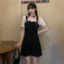 Dress Summer 2021 black M, L Middle-skirt Fake two pieces Short sleeve commute middle-waisted Solid color A-line skirt 18-24 years old Korean version Fungus, splicing 30% and below