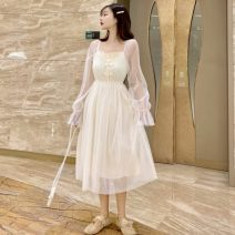 Dress Summer 2021 Apricot, black, pink M, L Mid length dress singleton  Long sleeves Sweet square neck High waist Solid color Socket Princess Dress pagoda sleeve Others 18-24 years old Type A Backless, embroidered, gauze net 30% and below princess
