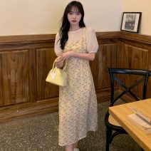 Dress Summer 2021 Violet, yellow Average size longuette singleton  Short sleeve Sweet Crew neck High waist Decor Socket A-line skirt puff sleeve Others 18-24 years old Type A Stitching, printing 30% and below solar system