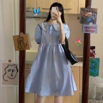 Dress Summer 2021 Picture color Average size Mid length dress singleton  Short sleeve Sweet Doll Collar High waist A-line skirt puff sleeve 18-24 years old Type A printing 30% and below solar system