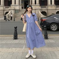 Dress Summer 2021 Blue check, black and white check Average size longuette singleton  Short sleeve commute High waist lattice 18-24 years old Type A Korean version Button 30% and below cotton