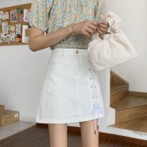 skirt Summer 2021 S,M,L White, black Short skirt Sweet High waist A-line skirt Solid color Type A 18-24 years old 30% and below Strap, button, bead, zipper, pocket college