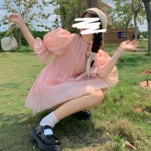 Dress Summer 2021 Pink, pink premium Average size Short skirt singleton  Sweet High waist Socket Big swing 18-24 years old Type A Mesh, Ruffle 30% and below princess