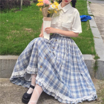 skirt Autumn 2015 Average size Picture color Mid length dress commute High waist A-line skirt lattice Type A 25-29 years old Button literature