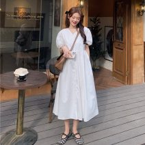 Dress Summer 2021 White, blue Average size longuette singleton  Short sleeve commute V-neck High waist Solid color Big swing routine 18-24 years old Type A Korean version 30% and below