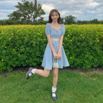 Dress Summer 2021 blue Average size Middle-skirt singleton  Short sleeve Sweet square neck High waist Solid color A-line skirt 18-24 years old Type A Lace 30% and below solar system
