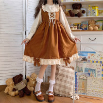 Dress Autumn 2020 S, M Mid length dress singleton  Long sleeves Sweet Crew neck High waist Solid color zipper Ruffle Skirt routine 18-24 years old Type A Splicing, Auricularia auricula Lolita