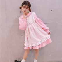 Dress Spring 2020 Average size Short skirt Two piece set Long sleeves Sweet Lotus leaf collar Loose waist Solid color Three buttons Ruffle Skirt bishop sleeve 18-24 years old Type A solar system