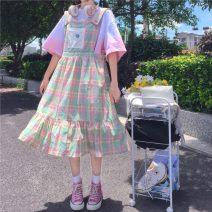 Dress Summer 2021 Plaid strap skirt Average size Mid length dress singleton  Sweet Loose waist lattice Socket 18-24 years old straps 30% and below solar system