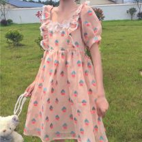 Dress Summer 2021 Apricot, pink Average size Middle-skirt singleton  Short sleeve Sweet square neck High waist other Socket Big swing puff sleeve Others 18-24 years old Type H Three dimensional decoration, lace, printing, fungus 30% and below solar system