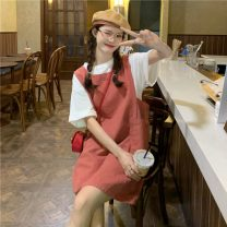 Dress Summer 2021 Black strap skirt , Red strap skirt Average size singleton  Sweet Loose waist Socket 18-24 years old Type H Pocket, strap 30% and below college