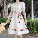 Dress Summer 2021 White, red, black Average size Mid length dress singleton  Short sleeve Sweet square neck High waist Socket Big swing 18-24 years old Type A Lace 30% and below solar system