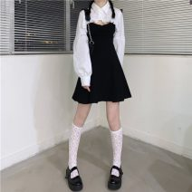 Dress Summer 2021 Shirt, shirt quality edition, suspender skirt, suspender skirt quality Edition Average size Mid length dress Long sleeves Sweet High waist Solid color Socket A-line skirt camisole 18-24 years old Type A 30% and below solar system