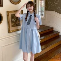 Dress Summer 2021 Blue (for tie), blue (for tie) premium edition, black (for tie), black (for tie) premium edition Average size Middle-skirt singleton  Short sleeve commute Polo collar Loose waist Solid color Socket A-line skirt routine 18-24 years old Type A Korean version 30% and below