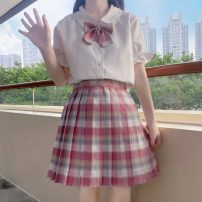 Other suits Summer 2021 White rabbit ear shirt, plaid skirt S. M, l, average size 18-25 years old