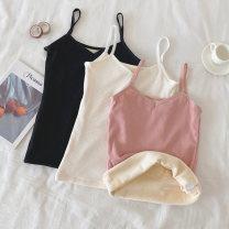 Vest sling Winter 2020 White, black, white premium, black premium, pink premium Average size singleton  routine Self cultivation commute camisole Solid color 18-24 years old