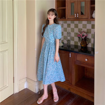 Dress Summer 2021 Picture color S, M longuette singleton  Short sleeve Sweet Crew neck High waist Broken flowers Socket A-line skirt 18-24 years old Type A Bow, open back 30% and below Mori