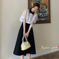 shirt Black skirt, white top Average size Summer 2021 other 30% and below Short sleeve Sweet Regular Polo collar Single row multi button Solid color 18-24 years old Straight cylinder Button, three dimensional decoration solar system