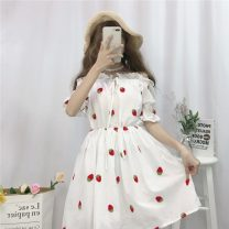 Dress Summer 2021 Picture color Average size Middle-skirt singleton  Short sleeve Sweet One word collar High waist Socket puff sleeve 18-24 years old Type A Lotus leaf edge 30% and below solar system
