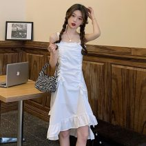 Dress Summer 2021 White, black Average size longuette singleton  Sleeveless Sweet High waist Solid color Socket Irregular skirt straps 18-24 years old Type A Pleats, folds, lacing, asymmetry 30% and below solar system