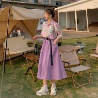 Fashion suit Summer 2021 Average size Purple shirt, yellow shirt, purple skirt, blue skirt 18-25 years old 30% and below