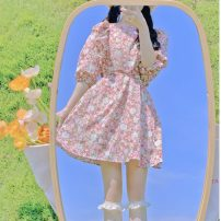 Dress Summer 2021 Blue, pink Average size Middle-skirt singleton  Short sleeve Sweet Crew neck High waist Socket A-line skirt 18-24 years old Type A Lotus leaf edge 30% and below solar system