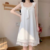 Pajamas / housewear set female Other / other Average size White, skin pink other Sleeveless Sweet Leisure home summer Thin money Solid color Socket youth Less than 20% lace Middle-skirt