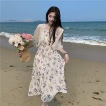 Dress Summer 2021 Dress, sunscreen Average size longuette Sweet High waist Broken flowers Big swing 18-24 years old Type A Lotus leaf edge 30% and below Mori