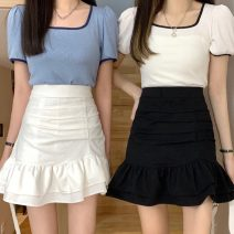 skirt Summer 2021 S,M,L White, black Short skirt Sweet High waist Ruffle Skirt Solid color Type A 18-24 years old 30% and below Zipper, stitching, pleating solar system