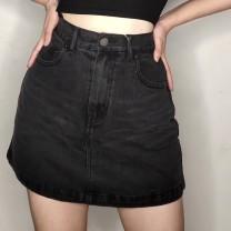 skirt Autumn of 2019 XS,S,M,L Blue, black and gray Short skirt Versatile High waist Solid color