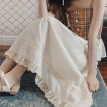 skirt Summer 2020 S, M Apricot white Mid length dress Retro A-line skirt Solid color Type A 18-24 years old MQ-2166 Planclour / ruosur