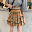 skirt Spring 2021 XS,S,M,L,XL,2XL,3XL khaki Short skirt Versatile High waist Pleated skirt Type A 18-24 years old other other Pleated, three-dimensional decoration