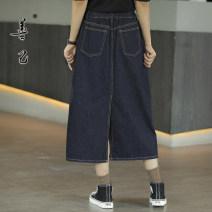 skirt Autumn 2020 S,M,L,XL,2XL,3XL Denim blue Mid length dress commute High waist A-line skirt Solid color Type A 35-39 years old SC5040 More than 95% Denim Be good to yourself cotton Pocket, button, zipper Simplicity