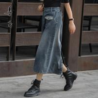 skirt Autumn 2020 S,M,L,XL,2XL Denim blue Mid length dress Versatile High waist A-line skirt Solid color Type A 35-39 years old SC5105 More than 95% Denim Be good to yourself cotton Pocket, worn, zipper