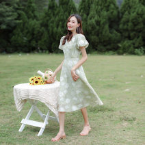 Dress Spring 2021 Light green XS,S,M,L Mid length dress singleton  Short sleeve commute V-neck High waist Decor zipper A-line skirt other Others 25-29 years old Type A Other / other Korean version Mesh, zipper, printing 20ttv collar large sleeve green skirt 17 51% (inclusive) - 70% (inclusive) other
