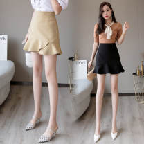 skirt Summer 2021 S,M,L,XL,2XL Ginger, black, purple Short skirt Versatile Natural waist A-line skirt Solid color 18-24 years old 51% (inclusive) - 70% (inclusive) Other / other