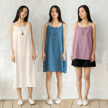 Dress Spring 2020 Cotton loose one size fits all Mid length dress singleton  Sleeveless commute Crew neck Loose waist Solid color Socket camisole Type A literature yj-TB-111 c-25 c-24 81% (inclusive) - 90% (inclusive) cotton