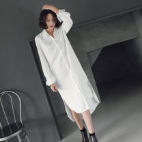 shirt white S,M,L,XL Spring of 2019 other 96% and above Long sleeves commute Medium length Polo collar Single row multi button routine Solid color Straight cylinder Other / other Korean version Button