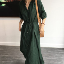 Dress Summer 2020 Dark green, orange S, M longuette singleton  Short sleeve commute stand collar Solid color Single breasted A-line skirt Type A Korean version Stitching, pockets, buttons, bandages 51% (inclusive) - 70% (inclusive)