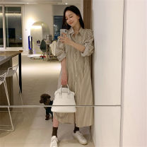 shirt Picture color S,M,L,XL Autumn 2020 other 51% (inclusive) - 70% (inclusive) Long sleeves commute Medium length Polo collar Single row multi button routine stripe 18-24 years old Straight cylinder Korean version Button, button