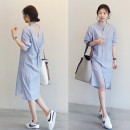 shirt Blue and white stripes S,M,L,XL Summer of 2019 other 51% (inclusive) - 70% (inclusive) three quarter sleeve commute Medium length stand collar Single row multi button shirt sleeve stripe 18-24 years old Straight cylinder Korean version