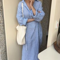 shirt White and blue stripe S,M,L,XL Spring 2020 other 51% (inclusive) - 70% (inclusive) Long sleeves commute Medium length Polo collar Socket routine stripe 25-29 years old Straight cylinder Korean version Button, stitching, strap