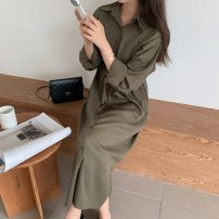 shirt Army green S,M,L,XL,2XL Autumn 2020 other 51% (inclusive) - 70% (inclusive) Long sleeves commute Medium length Polo collar Single row multi button routine Solid color 25-29 years old Straight cylinder Korean version Bandage